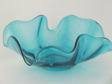 Free form art glass bowl, mid-century mod hand blown glass handkerchief dish