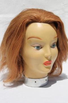 French fashion mannequin head, vintage photo prop model w/ set in doll eyes & human hair