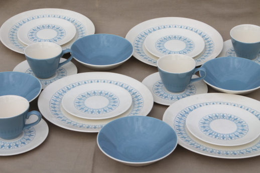 French fleur de lis Richelieu pattern set of dishes vintage Homer Laughlin blue u0026 white & vintage china dishes and dinnerware