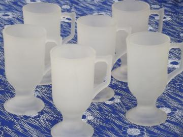 Frosted glass mugs, vintage Indiana satin crystal tall cups set