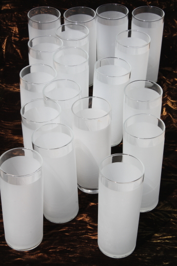 Frosty White Tom Collins Cocktail Glasses Set Of 18 Tall