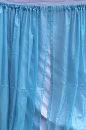 frozen blue sheer curtains 60s 70s vintage drapes voile drapery panels set