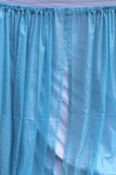 Frozen blue sheer curtains, 60s 70s vintage drapes, voile drapery panels set