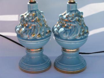 Fruit basket vintage 1950s pottery table lamps, aqua blue w/ gold