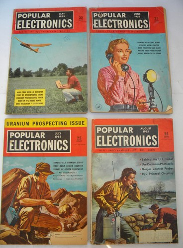 Full year of 1955 Popular Electronics magazines w/DIY projects & plans