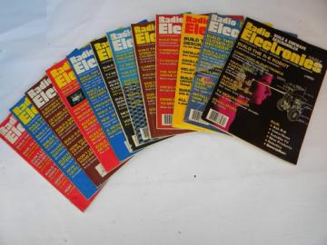 Full year of 1986 Radio-Electronics magazines w/DIY stereo/robotics