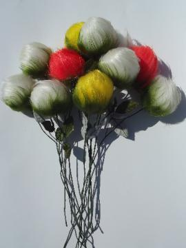 Fun 60s vintage fake fur flowers, retro fuzzy roses w/ troll hair!