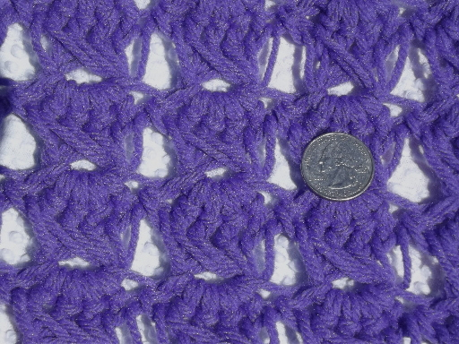 Funky 70s vintage crochet afghan in true purple with white stripes