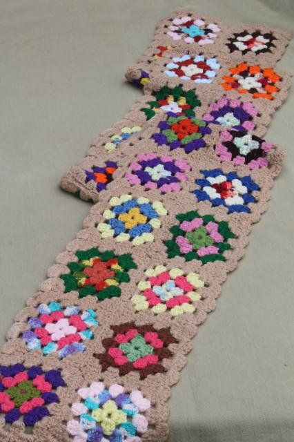 funky happy bright crochet scarf, vintage bohemian muffler in granny square patchwork