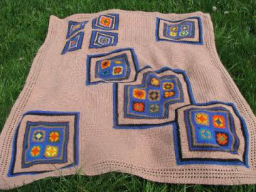 Funky mod 60s vintage crochet afghan w/ felted wool granny squares