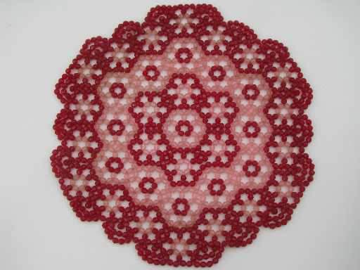 Funky Pretty Pink Beaded Doily Retro Vintage Plastic Bead