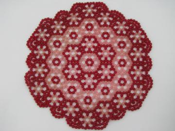 Funky pretty pink beaded doily, retro vintage plastic bead table mat