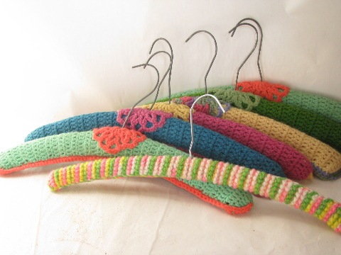 Funky retro yarn crochet covered wood clothes hangers, 1960s vintage