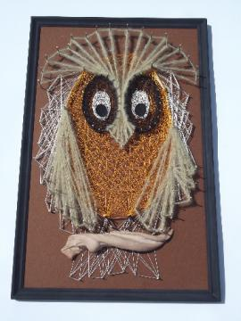 Fuzzy brown owl, retro 70s vintage string art, large wood wall plaque