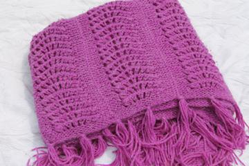 fuzzy magenta purple knit lace afghan throw, retro vintage cuddly wrap blanket