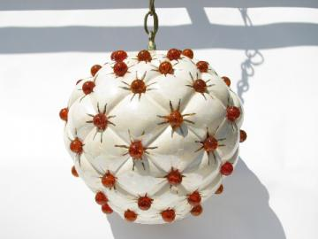 Genie style retro vintage ceramic swag lamp w/ crackle glass marbles