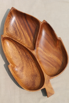 Genuine Monkey pod wood carved leaf serving dish tray for a tropical tiki bar