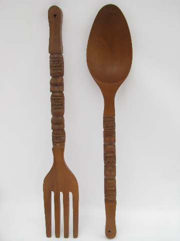 Wooden Fork And Spoon Wall Decor Giant Fork Spoon Retro Tiki Vintage Carved Wood Kitchen Wall On Spoon And Fork Wall Decor Roselawnluth