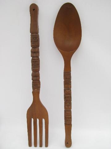 Giant Fork Amp Spoon Retro Tiki Vintage Carved Wood Kitchen