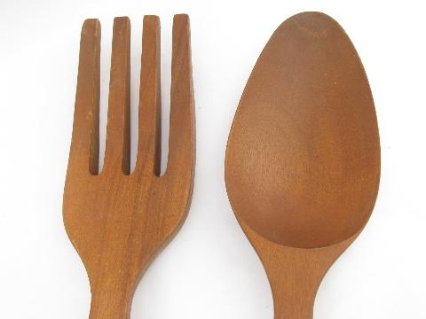 Giant Fork Spoon Retro Tiki Vintage Carved Wood Kitchen