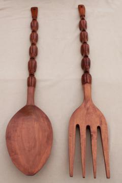 giant tiki wood carved fork & spoon, vintage wall art pieces over a yard long!