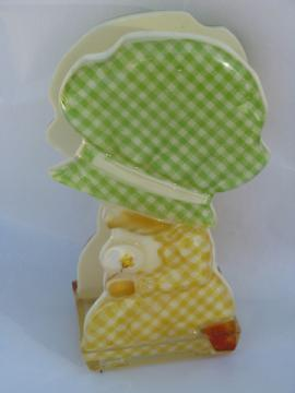 Gingham sunbonnet girl lucite napkin holder, retro Holly Hobbie vintage