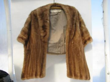 Glamorous 1940s vintage blonde mink stole shrug cape evening wrap