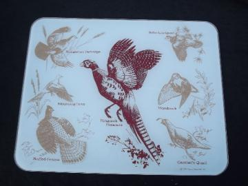 Glass counter saver kitchen board, vintage game birds stovetop trivet
