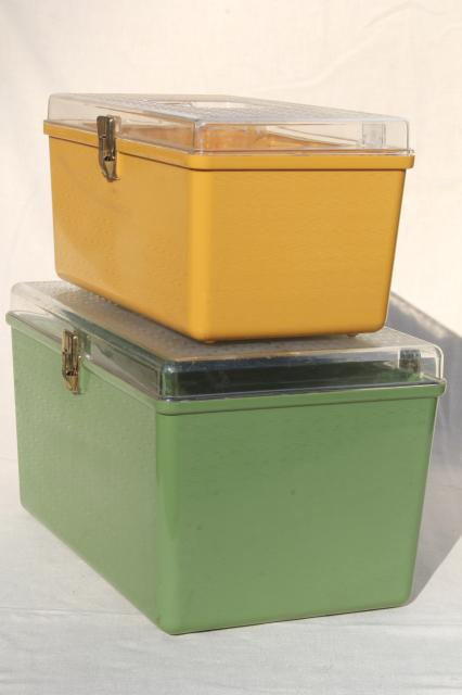 gold and green vintage plastic sewing box organizers, Wilson Wil-Hold sewing boxes