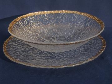 Gold border Italian art glass dishes, huge serving plate and salad bowl