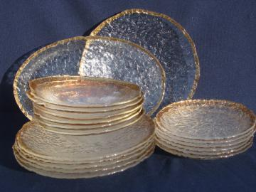 Gold border Italian art glass dishes, salad and dinner plates, bowls