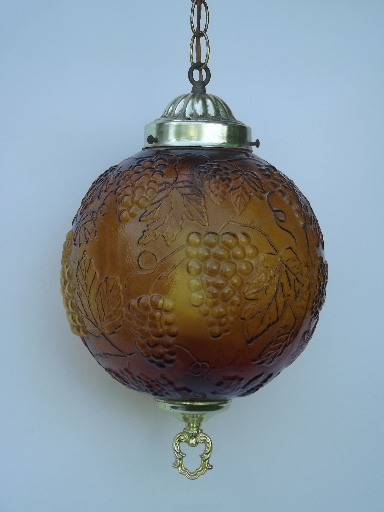 Gold Grapes Glass Globe Swag Lamp Retro 60s Vintage