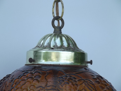 Gold Grapes Glass Globe Swag Lamp Retro 60s Vintage