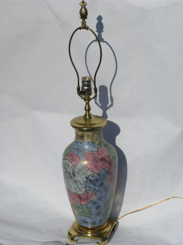 Gold Moriage Oriental Ceramic Vase Table Lamp Solid Brass