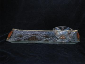 Gold patterned Briard glass, mid-century modern vintage tray & sauce bowl