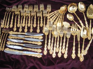 Gold plated Beethoven Oneida flatware for 8+, serving pieces, oyster forks