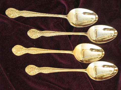 & Gold plated silverware Pamela flatware for 4 vintage Nasco - Japan