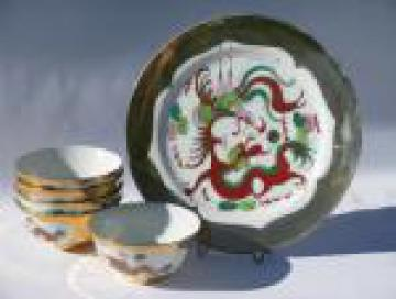 Gold & red dragon pattern, vintage Hong Kong porcelain rice bowls, plate