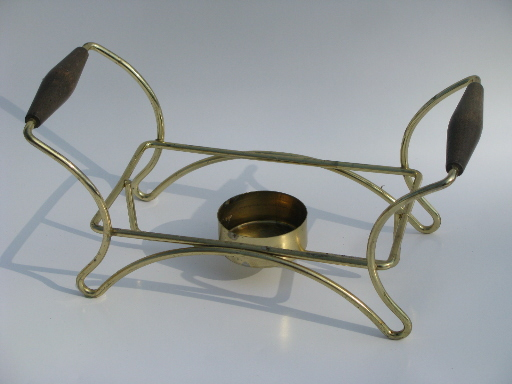 Gold spray w/ green, Briard or Culver vintage Fire-King chafing dish and stand