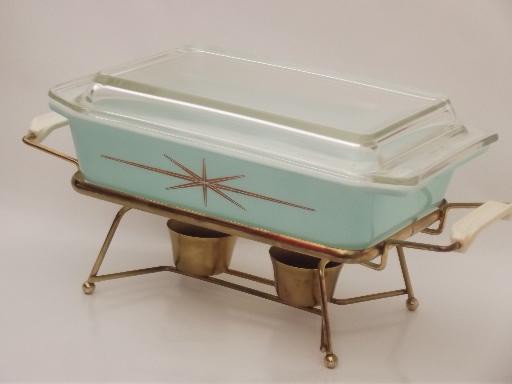 Gold Starburst Aqua Pyrex Casserole Amp Warmer In Original