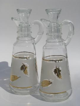 Golden Foliage cruet bottles, vintage Libbey glass oil and vinegar cruets