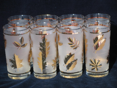 golden foliage vintage libbey glasses set of 8 glass tumblers w gold - Libbey Glassware