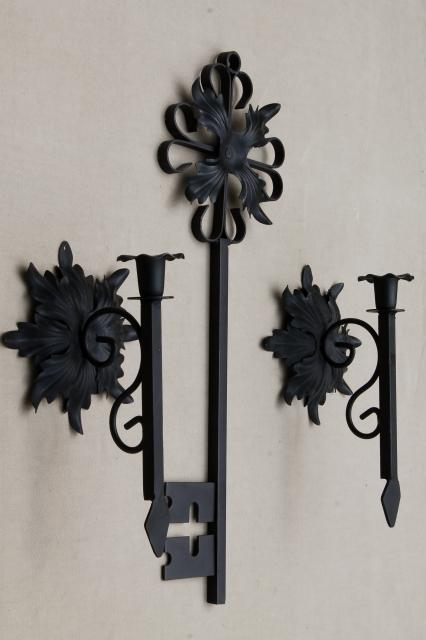 Gothic Black Iron Candle Sconces Huge Ornamental Key Vintage Wall Art Holders Set