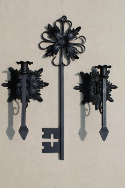 gothic black iron candle sconces & huge ornamental key, vintage wall art candle holders set