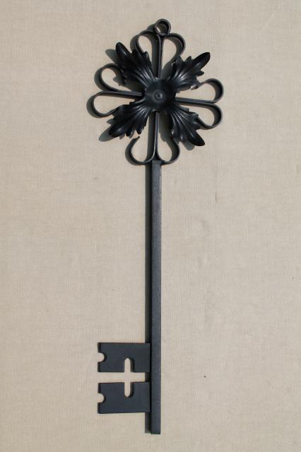 gothic black iron candle sconces & huge ornamental key, vintage wall art candle holders set