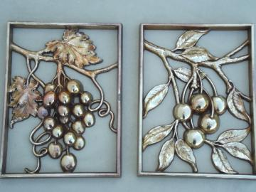 Grapes & cherries fruit plaques, vintage Syroco gold wall art set