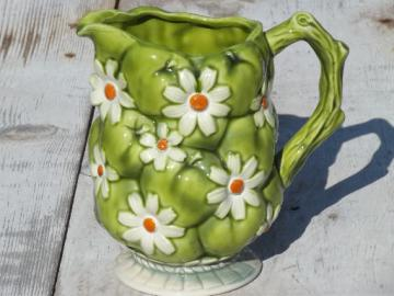 Green apple & daisy vintage Inarco - Japan ceramic pitcher, 60s retro