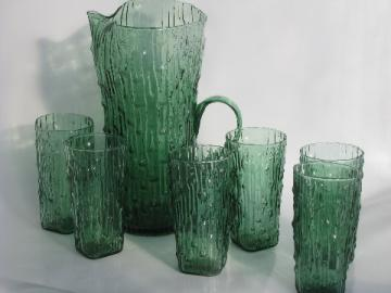 Green bamboo glass pitcher and tall glasses set, vintage Imperial bambu