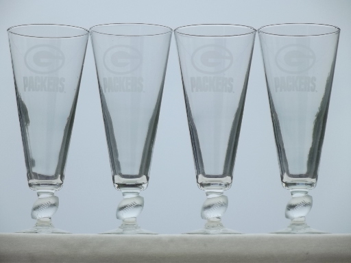 Green bay packers glass football stem pilsner beer glasses set of 4