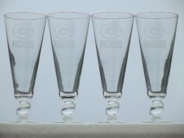 Green Bay Packers glass football stem pilsner beer glasses set of 4